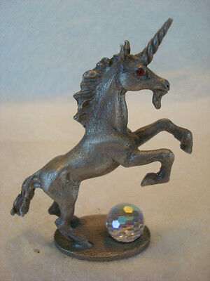 Vintage Spoontiques Fantasy Mythical Unicorn Fine Pewter Figurine 1986  RED EYES