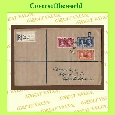 Niue 1937 KGVI Coronation set on registered cover (brown)