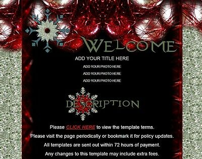 Crystal Night Snowflakes AUCTION TEMPLATE Christmas silver glitter red black