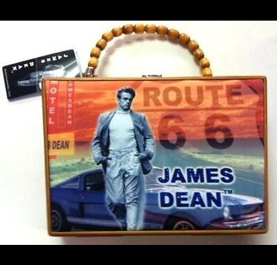 JAMES DEAN WOODEN PURSE WITH CUSHION FABRIC DESIGN W/BEAD HANDLE