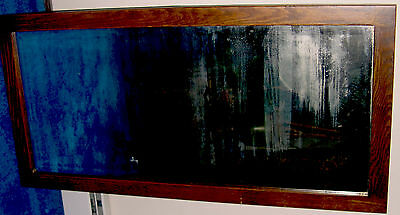 Late 1800s Antique Bevelled Mirror in Quaratersawn Oak Frame, overall  22 X 46in