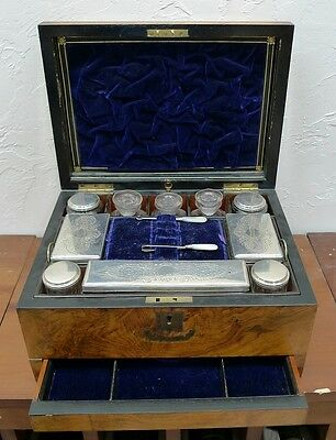 ORIGINAL English Victorian antique Lady's Traveling Dressing Case, circa 1870
