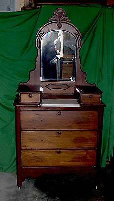 PickUpOnly Antique Walnut Victorian Dresser with Glove Boxes and Mirror  Marble