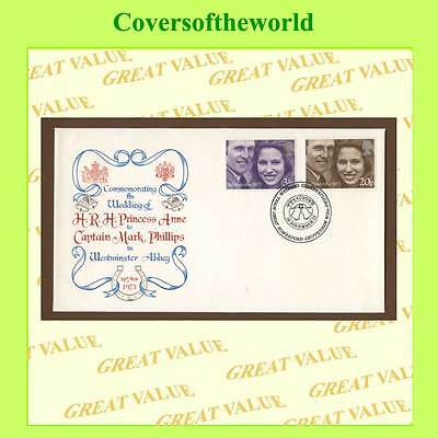 G.B. 1973 Royal Wedding set on small First Day Cover, Great Somerford H/S