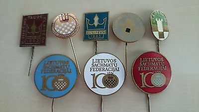 Badge. Pin. Soviet. Chess. Lithuania Republic. Lot of 8 pins.