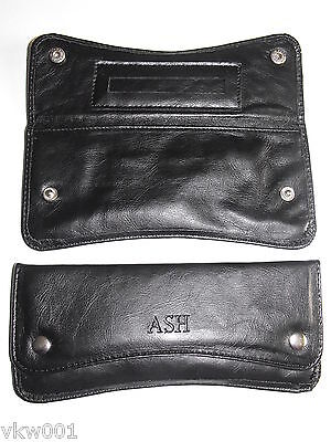 BLACK TOBACCO POUCH  FAUX LEATHER Curved shape front (17803)