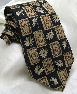 "GAP Men's Silk Tie Floral Geometric Box Abstract Blue Gold Gray Bronze 3.75""x 57"