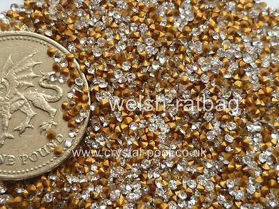6pp Crystal diamanté gold-foiled chatons 60 x Preciosa Optima 2ss