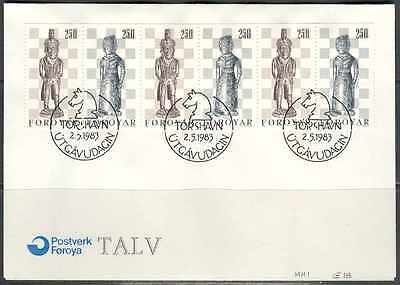 Denmark Faroe 1983 May2 Bkit pane CHESS issue on PO unaddressed FD cover Sc 94a