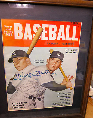 Mickey Mantle Framed Autographed 1953 Street And Smith Pictorial Yearbook