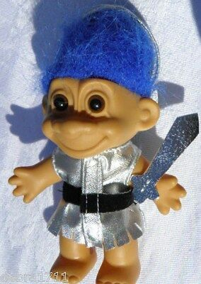 "Silver Sword  w/hat  Blue Hair RUSS Troll 4 1/2"" tall"