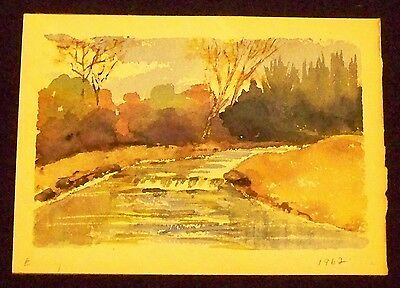 VERY NICE 20th CENTURY EARLY FALL LANDSCAPE SCENE CIRCA 1962 WATERCOLOR PAINTING