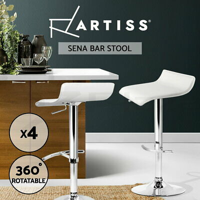 4x Bar Stool SENA Kitchen Swivel Barstool Leather Dining Chairs Gas Lift White