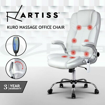 8 Point Massage Executive Office Computer Chair Remote PU Leather Armrests White