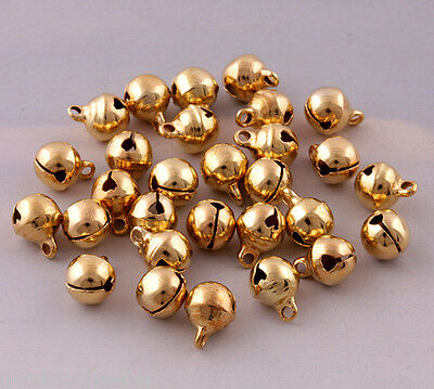 100 Pcs gold Plated jingle bells loose beads charms jewelry marking 8X10mm