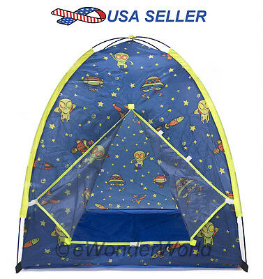 Outer Space Kids Play Tent Baby Folding Playhouse Hut w/ Safety Meshing 403