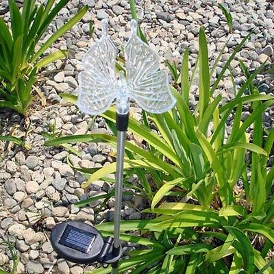 2x Solar Butterfly Garden/Yard Decor Stake Multi-Color Changing LED Light New