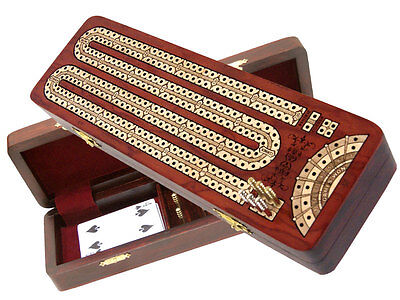 Continuous Cribbage Board Bloodwood / Maple with place to Mark Won games