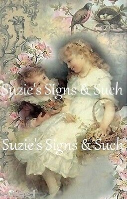 Fabric Block Vintage Altered Postcard Elegant Victorian Romantic Chic Shabby~