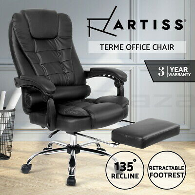 Artiss Executive Office Chairs Computer Desk Recliner Work Seat Footrest Black