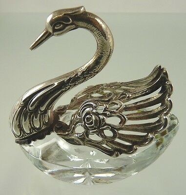 SWAN SHAPED SILVER .835 AND CRYSTAL SALT CELLAR BY P 1 BELGIUM 1942+