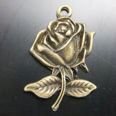 30X Vintage Style Bronze Tone Nice Rose Charms Pendant  22*17*4 mm