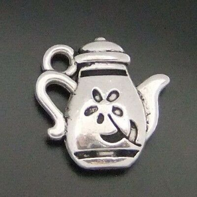 70X Vintage Style Silver Tone Alloy Glyph Flower Teapot Charms Pendant 13*13*3mm