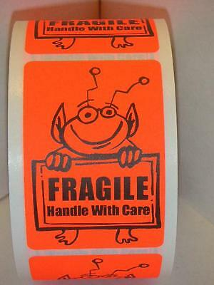 FRAGILE HANDLE WITH CARE Cute Red Alien Holding Sign 2x3 Sticker Label 250/rl