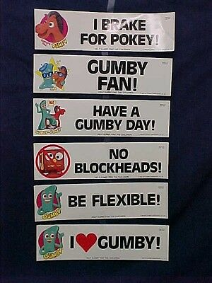 Vintage 1985 Gumby Bumper Stickers Set of 6 New old Stock