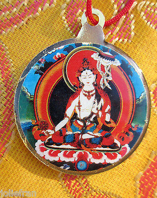 "Vibrant White Tara/kalachakra Tibetan Buddhist Pendant Necklace 1 1/4"" Red Cord"