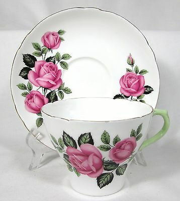 ELEGANT SHELLEY PINK ROSES CUP & SAUCER BONE CHINA