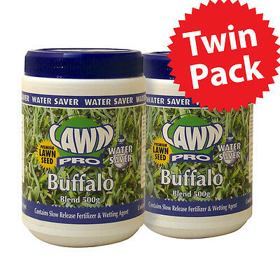 SALE! TWIN PACK Lawn Pro Buffalo Lawn Seed Water Saver for your garden 2x 500gm