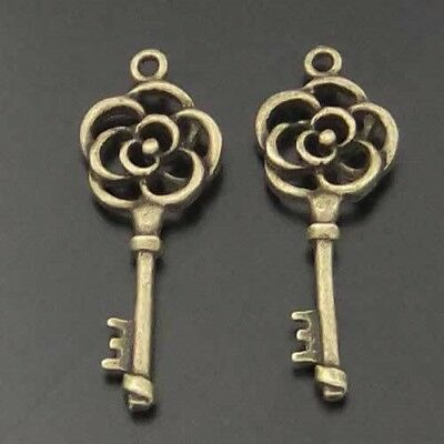 50X Vintage Style Bronze Tone Alloy Flower Key Pendant Charms 25*11*3 mm