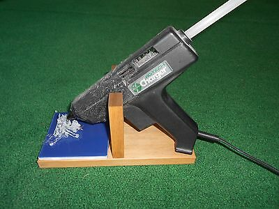 Handcrafted Wooden Hot Glue Gun Stand Holder with ceramic drip pad