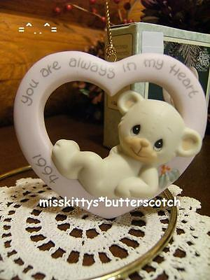 Precious Moments~ORNAMENT~DATED 1994~You Are Always n My Heart~530972~Teddy Bear