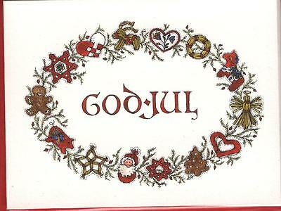 God Jul wreath Christmas cards – set of 8 cards with red envelopes, blank inside