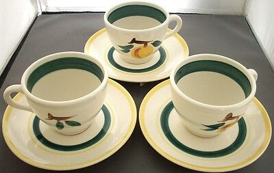 Stangl Pottery: FRUIT Peach: 3 Cup & Saucer Sets: NR