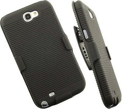 BLACK RUBBERIZED HARD CASE + BELT CLIP HOLSTER FOR SAMSUNG GALAXY NOTE 2 II