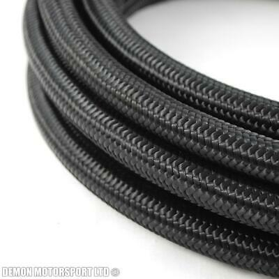 Black Nylon Braided Hose, Fuel Oil Line AN8 8AN -8 (11mm / 7/16) 1 metre