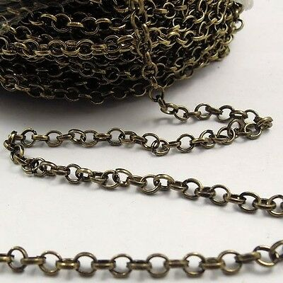 4m Antique Style Bronze Iron Circle Ring Link Unfinished Chain Necklace Finding