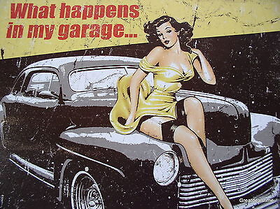 MY GARAGE RULES WHAT HAPPENS IN GARAGE STAYS PINUP GIRL OLD CAR MAN CAVE SIGN