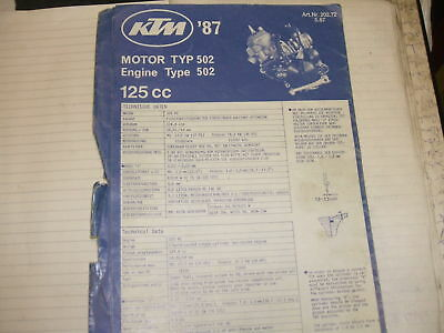 ktm 125 type 502 1987 engine parts catalogue book