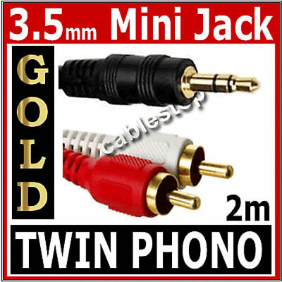2m Twin RED WHITE 2x RCA PHONO to Stereo 3.5mm Mini Jack STEREO Audio Aux Cable