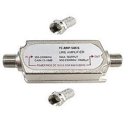 Satellite amplifier in line signal booster Sky amp sat lmb lnb  2 x f connectors