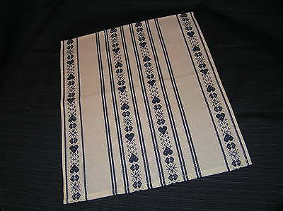 Small table runner – White with Blue woven hearts (13 inch x 15 ½ inch)