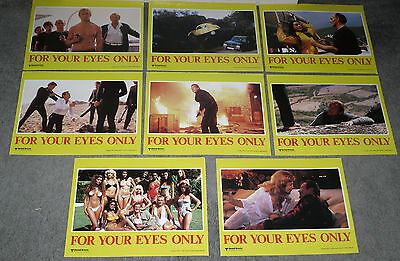 FOR YOUR EYES ONLY original 1981 11x14 lobby card set JAMES BOND/ROGER MOORE