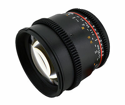 Rokinon 85mm T1.5 Cine Wide Angle Lens  w/ De-clicked Aperture For Sony Alpha