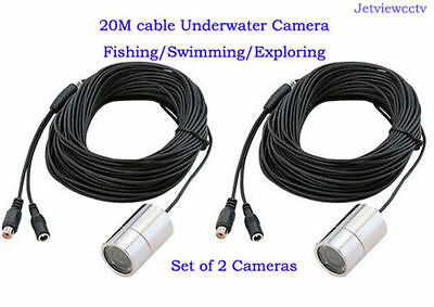 2 x Wide Angle Color Underwater Video Camera  With 4 Illum LEDs and 20m Cable