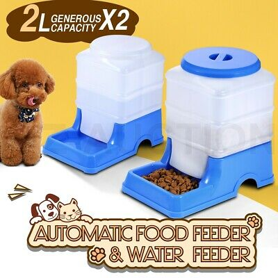 2 x Automatic Pet Feeder Waterer Set Dog Cat Self Feeding Food Water Bowl 2L
