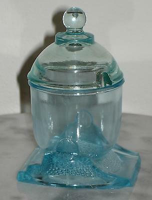 Early Bryce Higbee and Co. Blue Mortar Mustard Jar Novelty